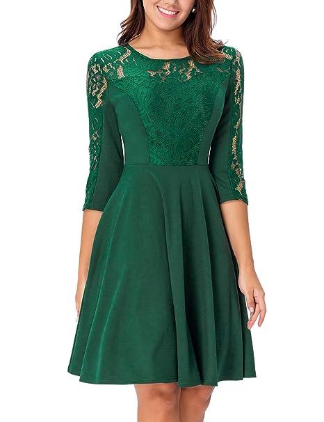Amazon.com: Noctflos vestido de cóctel de encaje verde con ...