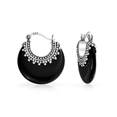 e4f8714fa Image Unavailable. Image not available for. Color: Bali Style Tribal Black  Onyx Boho Crescent Hoop Earrings For Women ...