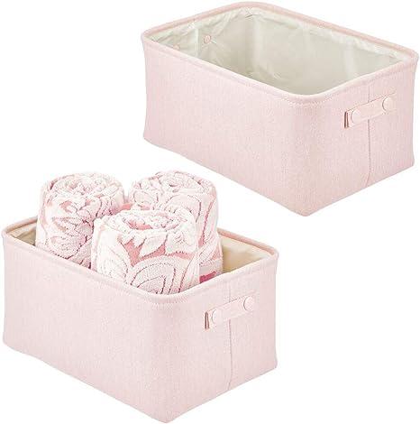 Shelf Cabinet Attached Handles mDesign Soft Cotton Fabric Closet Storage Organizer Bin Basket Storage Organizer for Bathroom Pink//Blush Tall Use on Vanity 2 Pack Coated Interior Countertop