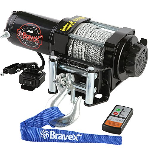 Bravex Electric 12V 3500lb/1591kg Single Line Waterproof Winch for UTV ATV Boat with Both Wireless Handheld Remote and Corded Control Recovery Winch ()