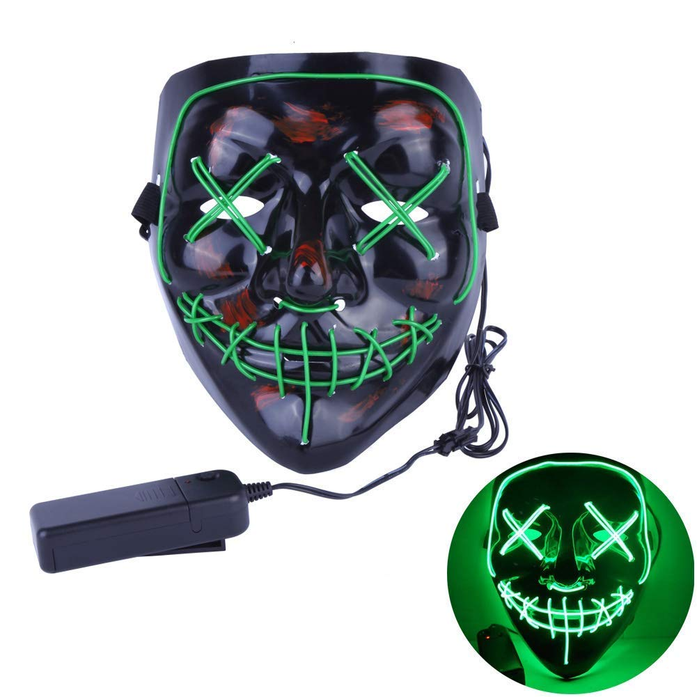 Auroland Halloween Scary Mask LED Light Up Masks Cosplay Frightening Wire Creepy Costume Mask for Festival Parties