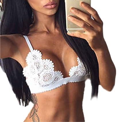 7f60658c9f Egal Sexy Women Ladies Crop Tops Lace Choker Sheer Bralette Bustier  Unpadded Bra Lingerie white XL  Amazon.ca  Home   Kitchen