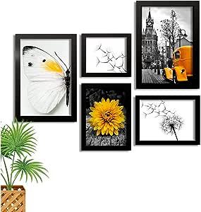 Kit Quadros Decorativos Com Moldura Borboleta Amarela