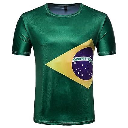 ba327d261 SUKEQ Men s Brazil National Soccer Team T-Shirt Short Sleeve Brazilian Flag Tee  Shirts for FIFA World Cup 2018