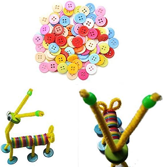 9mm Trifycore Tasto rotondo 100 pezzi colorati bottoni della camicia fai da te fai da te in plastica per il mestiere di cucito Adesivi per bambini artigianato