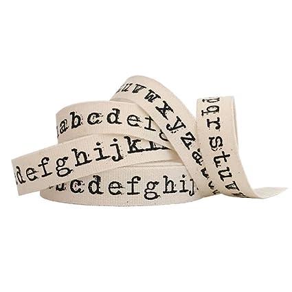 Máquina de escribir letras del alfabeto Natural cinta de algodón 1 m cinta de Craft