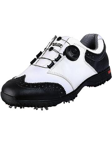reputable site 69f93 9c199 PGM Chaussures de Golf Imperméables en Cuir Véritable pour des Hommes avec  Le Système de Lacet