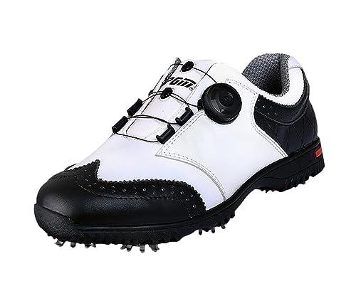 baskets prix détaillant PGM Chaussures de Golf Imperméables en Cuir Véritable pour des Hommes avec  Le Système de Lacet de Boa