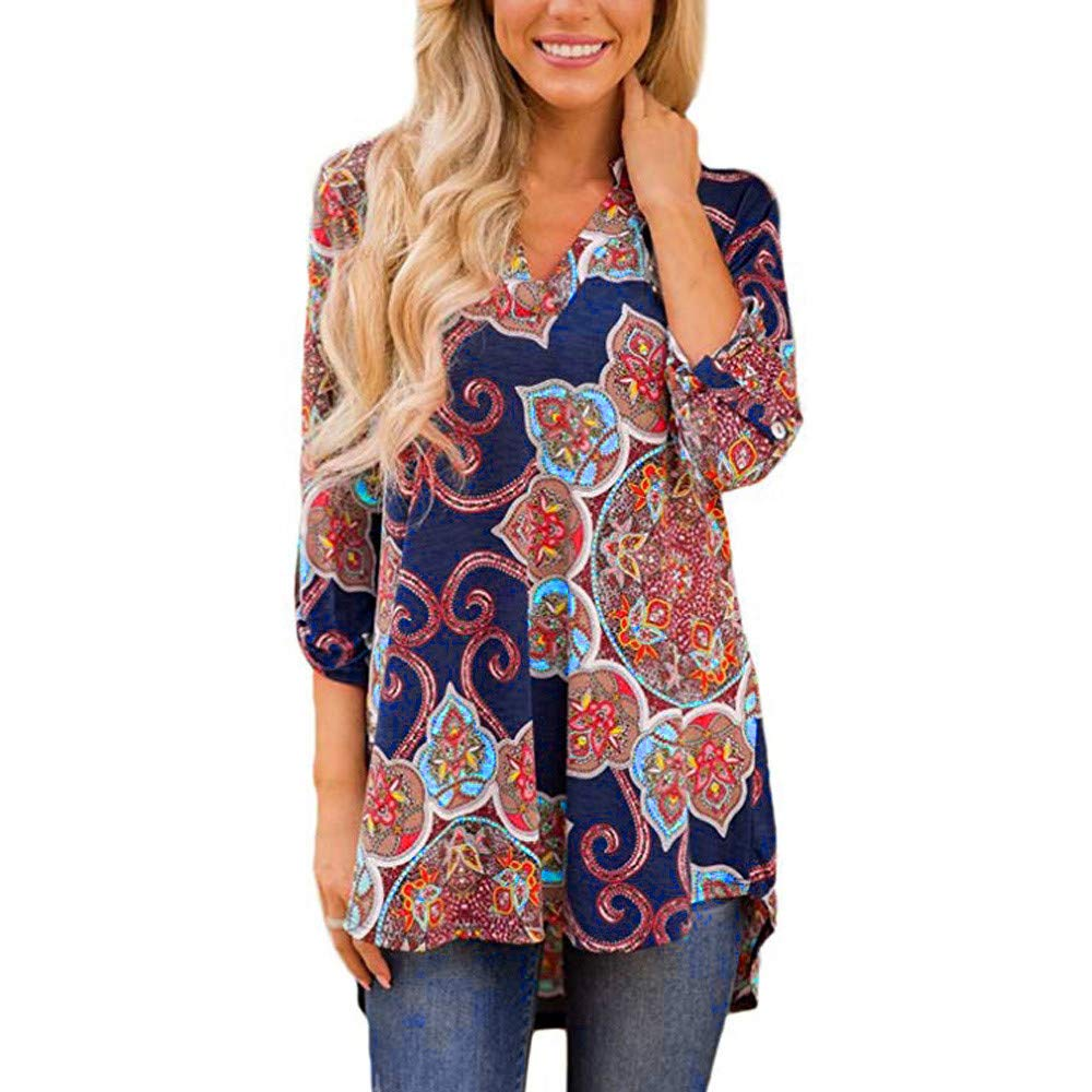 Women Tops Floral Print Long Sleeve Casual Blouse V Neck High Low Hem Henley Shirts