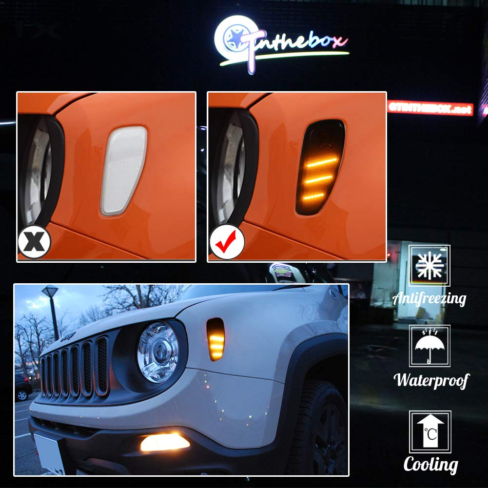 Clear Lens Amber LED Lights By GTinthebox Side Marker Turn Signal Clearance Lamps Update Kit For Jeep Renegade 2014 2015 2016 2017 2018,2 Pcs
