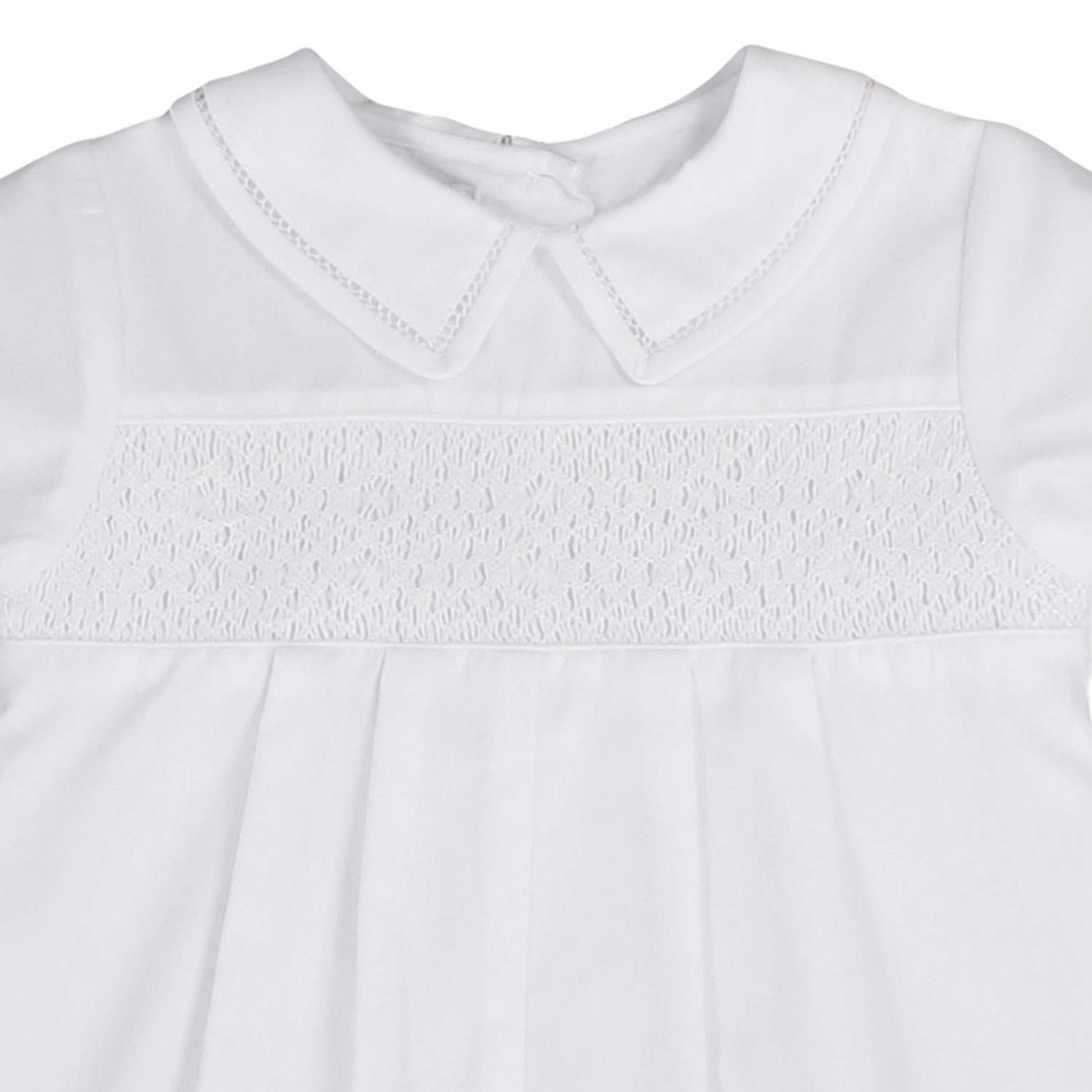 Petit Ami Baby Boys Romper with Smocking and Faggoting