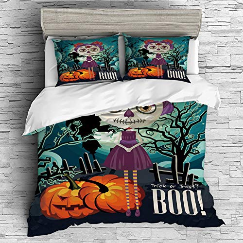 iPrint Soft Luxurious 4 Pcs Decorative Quilt Duvet Cover Set Comforter Cover Set(King Size) Halloween,Cartoon Girl with Sugar Skull Makeup Retro Seasonal Artwork Swirled Trees Boo Decorative -