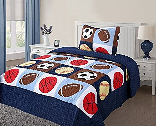 Twin Size 2 Pcs Quilt Bedspread Set Kids Sports Basketball Football Baseball Boys Girls (Sports Twin Bedding)