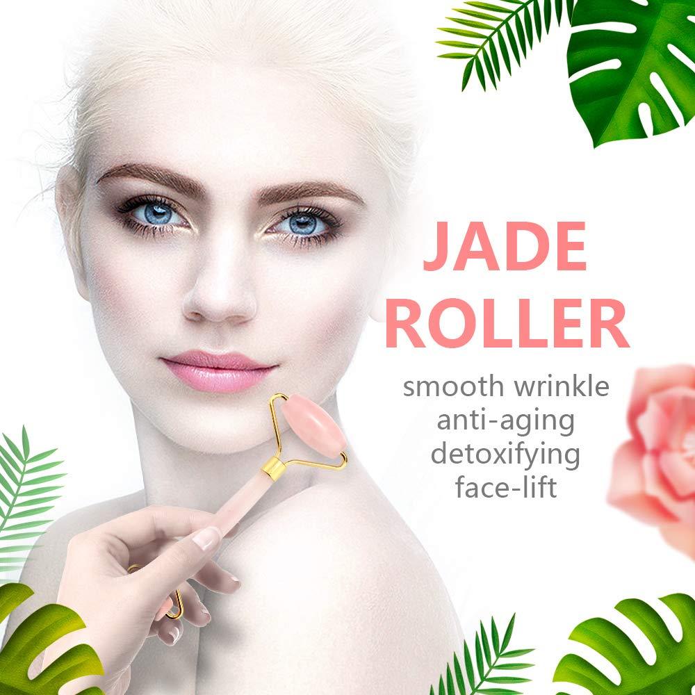 Jade Roller and Gua Sha Scraping Facial Tools Set,Rose