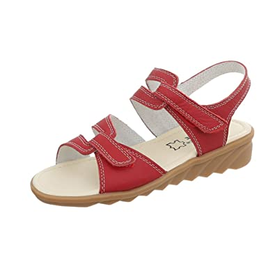 Ital Design Riemchensandalen Leder Damenschuhe Klettverschluss Sandalen  Sandaletten