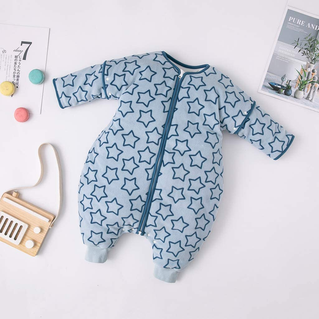 Newoborn Sleeping Sack for Toddler 2-3 Years Baby Romper Suit Removable Sleeves Ideal for Home and Travel Baby Sleeping Bag 3 Tog Blue