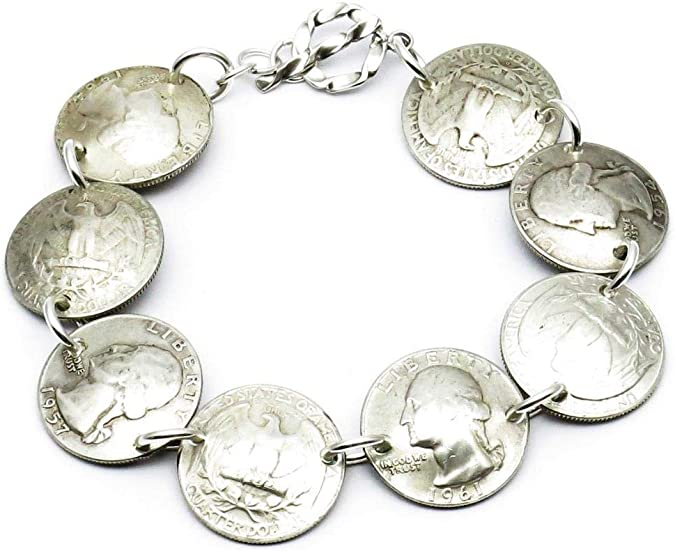 Womens Mens Brass or Sterling Silver Links All Sizes Buffalo Nickel Chain Bracelet Made in USA