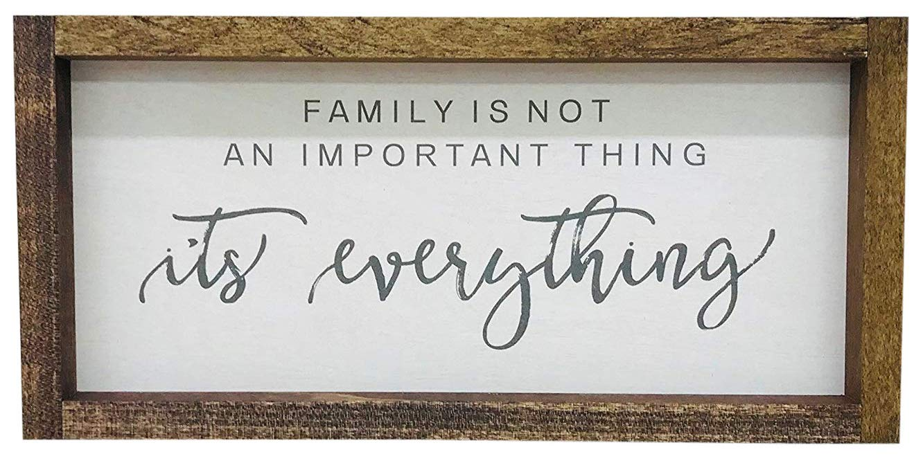 """Madi Kay Designs Family is Not an Important Thing, It's Everything Farmhouse Sign Home Family Wall Decor Framed Wood Sign Inspirational 6"""" x 12"""" with 1"""" Walnut Frame"""