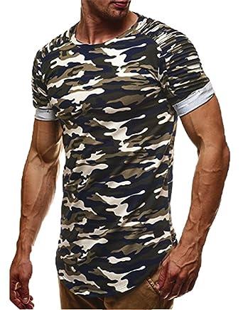 368bcffa813d5f Keephen Männer Oansatz Kurzarm Camo T-Shirt