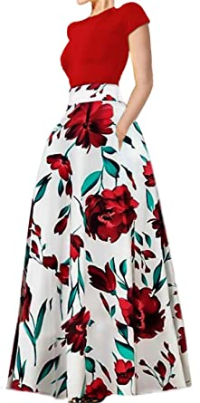0c7daad82 Ladies Short Sleeve Red Tops Skirt Set Floral Print Full Long Maxi Skirts  White M