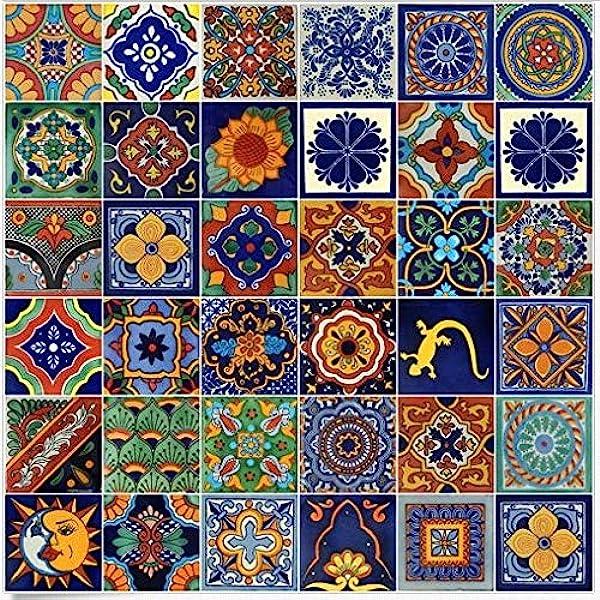 Amazon Com 100 Mexican Ceramic Tiles Handmade Talavera Tiles Home Improvement