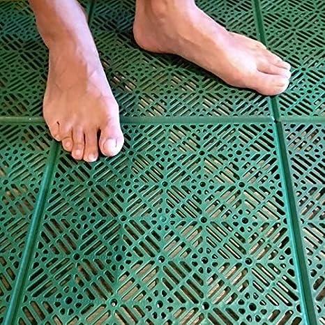 ML Suelo Flotante plastico para jardín Exterior Deportes Baloncesto Piscina 30 x 30 cm 12 Piezas, Suelo plastico Rejilla (Baldosas Verde)