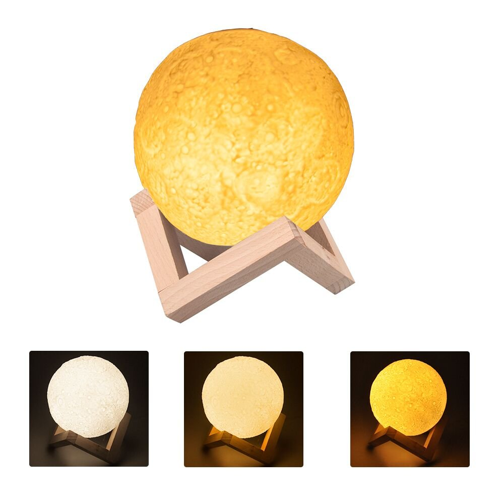 JmeGe NL60 3D Printing Decorative Moon Lamp, Warm and Cool White Dimmable Pat Button Control LED Brightness 3000K/6500K with USB Rechargeable, Wireless Speaker 5.12 Inches Diameter Bluetooth Moon Night Light
