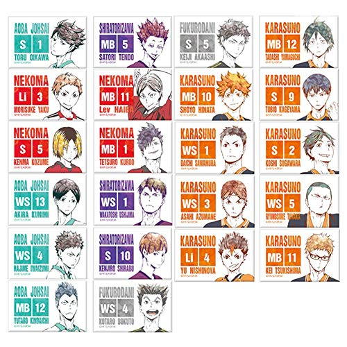 VASTAIR 22 Pieces Anime Haikyuu!! Card Sticker, Mini Card Sticker Suitable for Bus Card ID Card Bank Card Card Decorating Stickers( 22 Pieces )