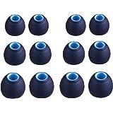 A-Focus イヤーピース JBL T110BT,ARKARTECH T6,Semiro,TaoTronics 等内径ダイヤ3.8㎜-4.0㎜イヤホンに対応 ハイブリッドイヤーピース シリコン製 音質向上 耐久性 SML 3サイズ 6ペア イヤーチップ Black‐Blue