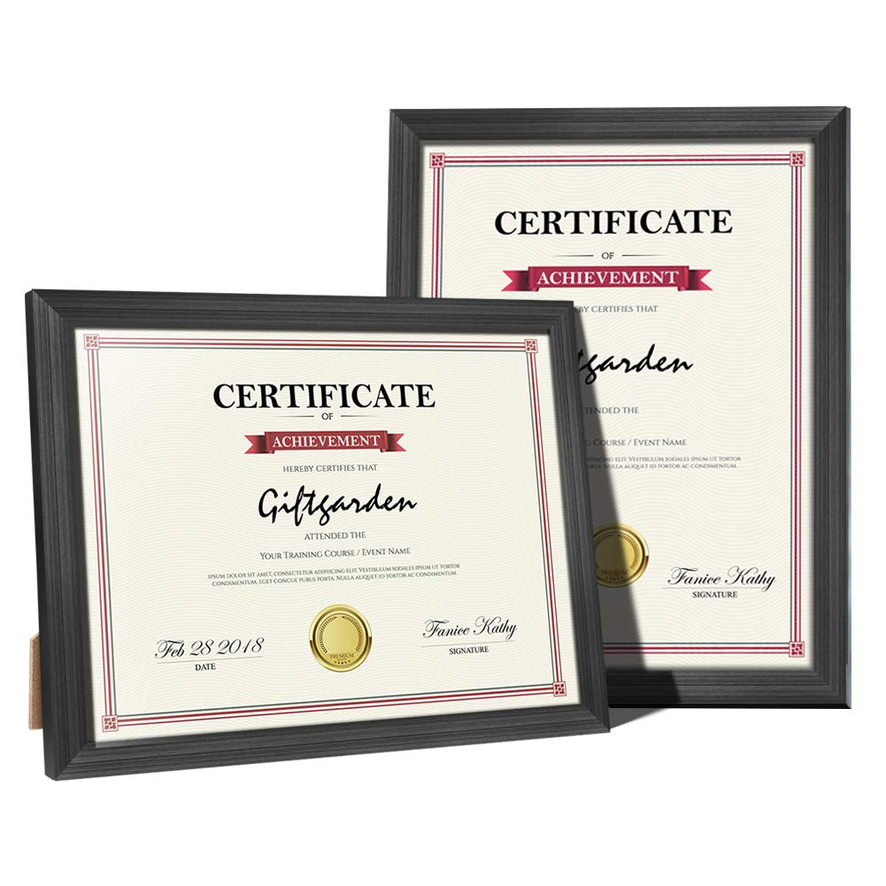 Giftgarden 8.5x11 Picture Frames 2 PCS Black Certificate Document Frame Set, Wall Mounting and Tabletop Display