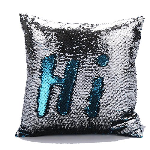 BOKOLI NEW Two Tone Glitter Sequins Throw Pillows Decorative Cushion Covers (Silver)