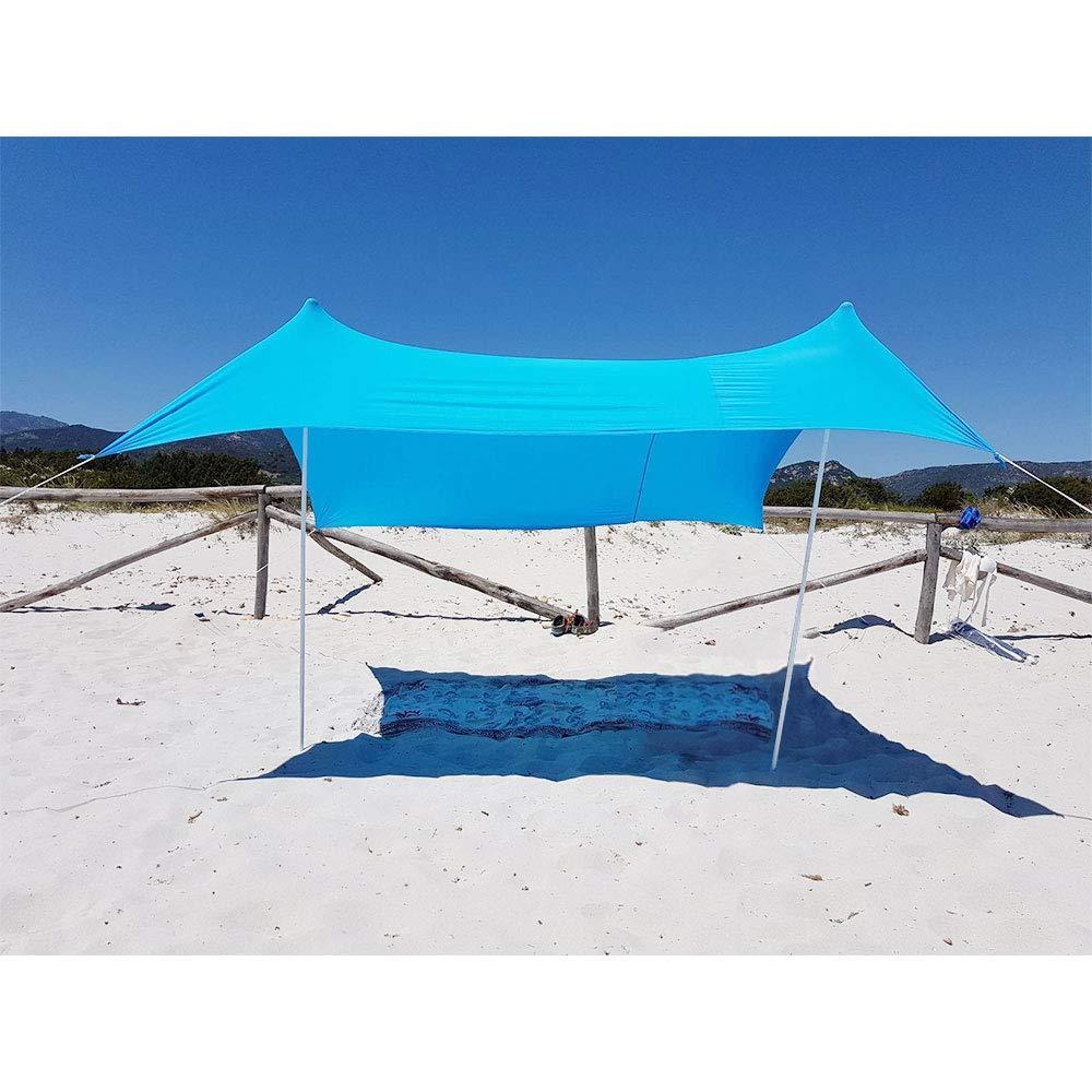 Lovebay Portable UV Schutz Strand Zelt mit Sand Anker für Garten und Strand - 2,1m x 2,1m
