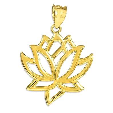 Amazon 14k yellow gold lotus flower pendant jewelry 14k yellow gold lotus flower pendant audiocablefo