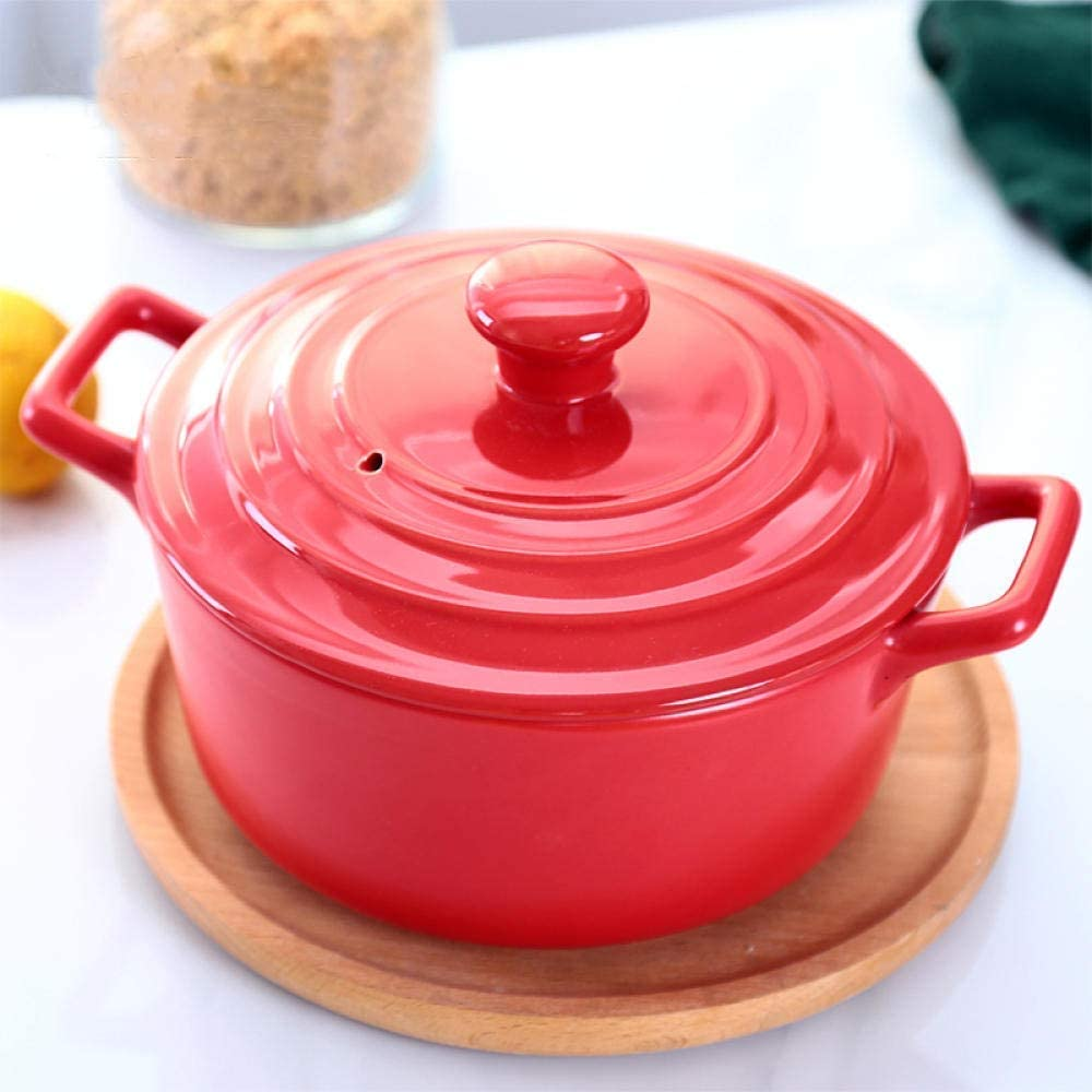 LIUSHI Terracotta Casserole Terracotta Pot Ceramic Casserole - high Temperature Cooking Improved Nutrition Healthy and Tasty Capacity 2.2L-Red_Capacity 2.2L