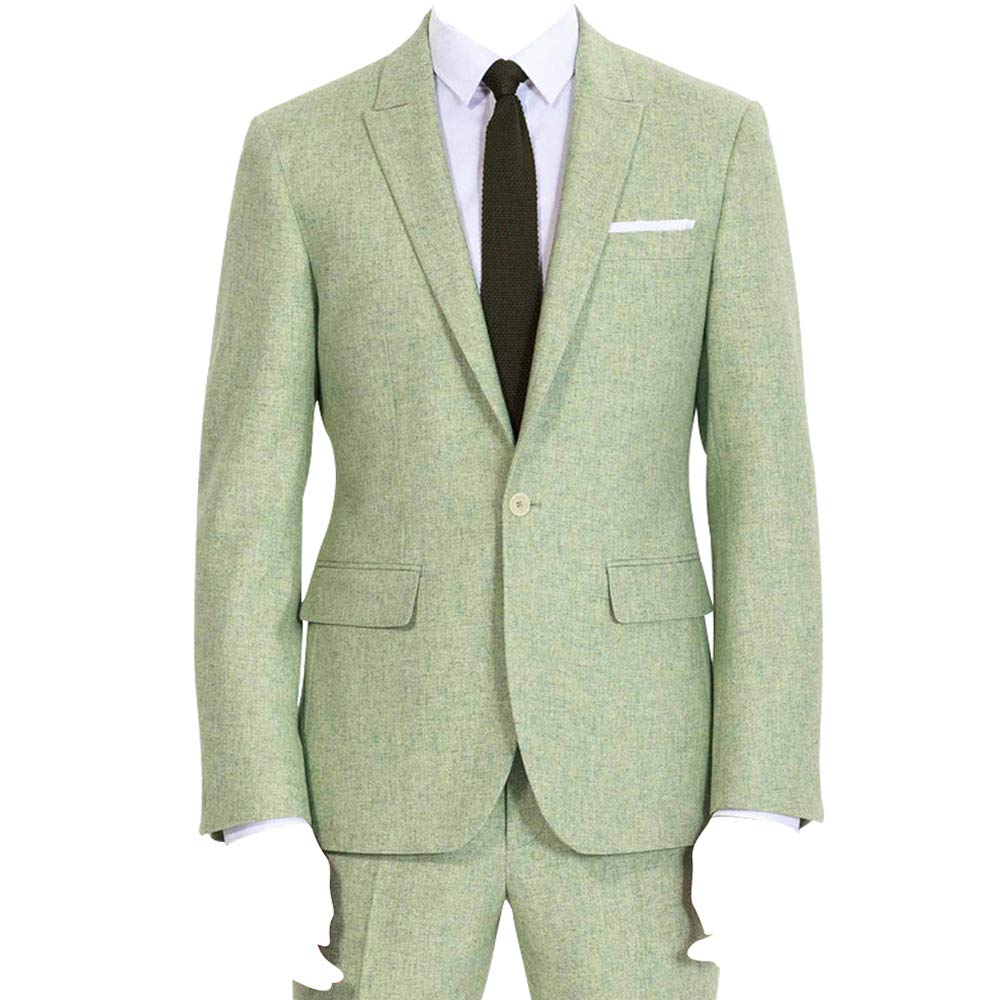 HBDesign Mens 2 Piece 1 Button Flat Collar Suits Yarn Green HMS5085YGN