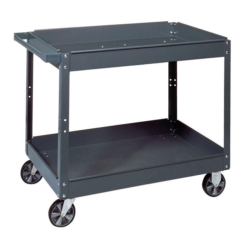 Edsal SC2020 Gray Steel Service Cart, 2 Shelves, 500 lb. Capacity, 32'' Height x 20'' Width x 28'' Depth by EDSAL (Image #1)