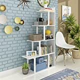 Tribesigns 5-Shelf Ladder Corner Bookshelf, Modern Simplism Style 67 '' H x 14.2'' W x 7.5''L, Made of Steel and Wood, for Living Room or Hallway (White)