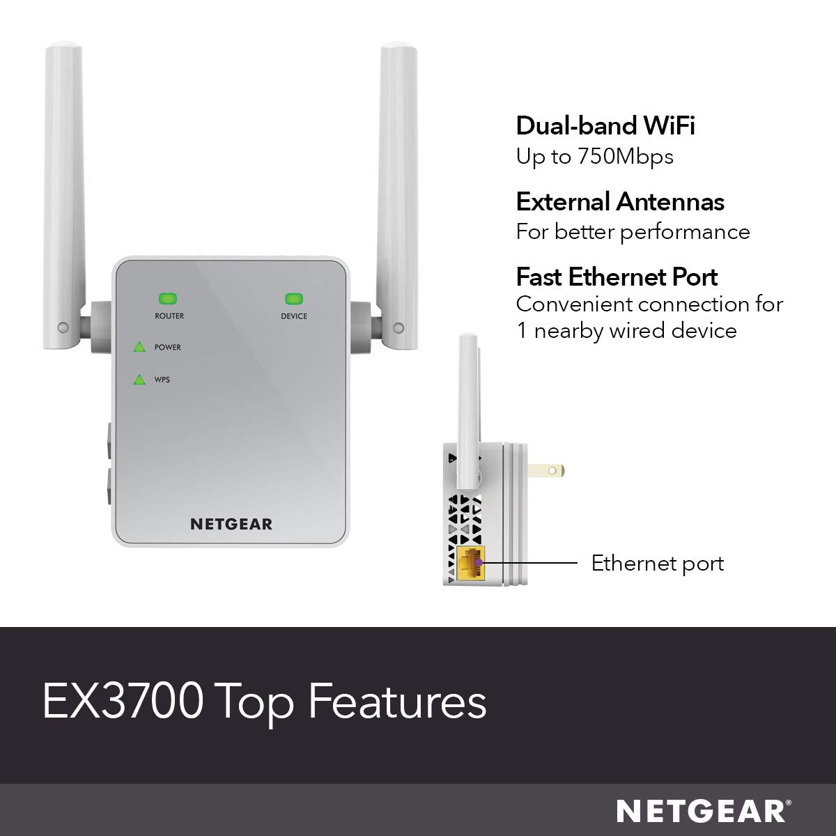 NETGEAR Wi-Fi Range Extender EX3700 - Coverage up to 1000 sq ft  and 15  devices with AC750 Dual Band Wireless Signal Booster & Repeater (up to  750Mbps