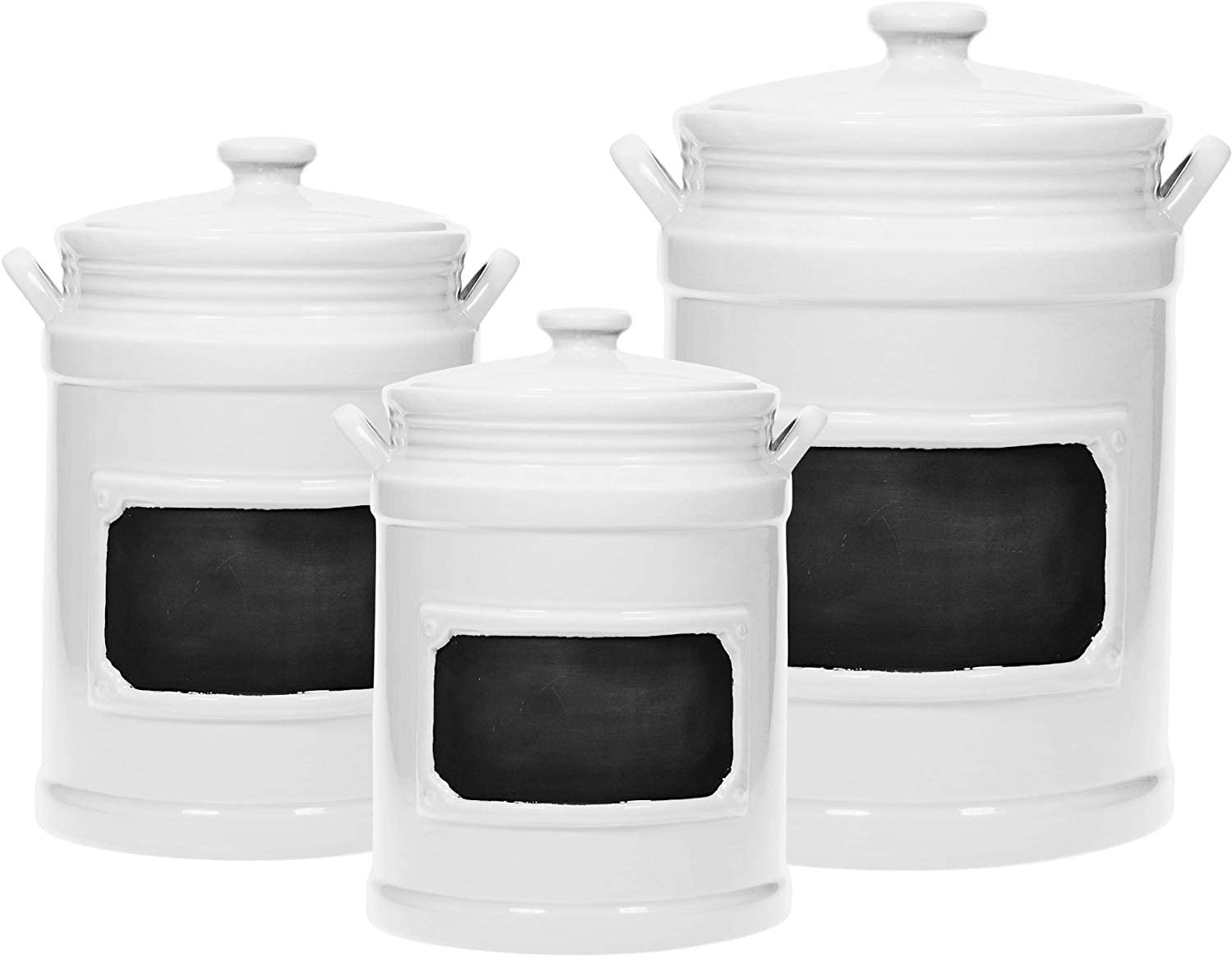 Kitchen Canister Set 3 Piece Airtight Canisters - Ceramic Food Storage Jars for Kitchen and Bathroom | Decorative White Ceramic Canister Set