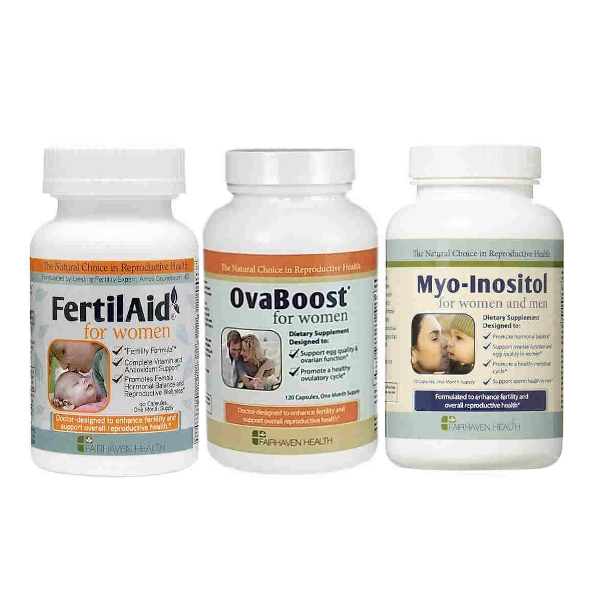 Fertilaid for Women, OvaBoost, and  Myo-Inositol Fertility Supplements for Women Combo - 1 Month Supply - Provides Support for Women With PCOS