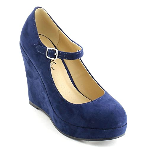 e32f476f21 Women's Dolly Closed Toe Ankle Strap Platform Wedge Heel Pumps Dress Shoes  (10, Navy