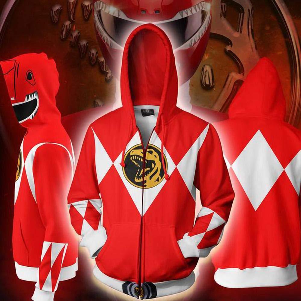 ENTHUSIAST Unisex Hoodies Film Umgebung Power Rangers 3D Print Zip Hoodie Pullover Leichte Sweatshirts Taschen A-S
