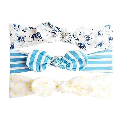 Hocaies 3 Bébé Bandeau Cheveux Enfant Uni de Nœud Turban Elastique ... 334043303f1