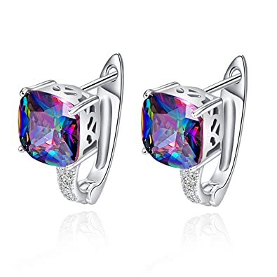 Bonlavie Women's 12.8ct Round Cut Created Rainbow Mystic Topaz 925 Sterling Silver Stud Earrings Jewelry (Rainbow) uTDAyJUx5k