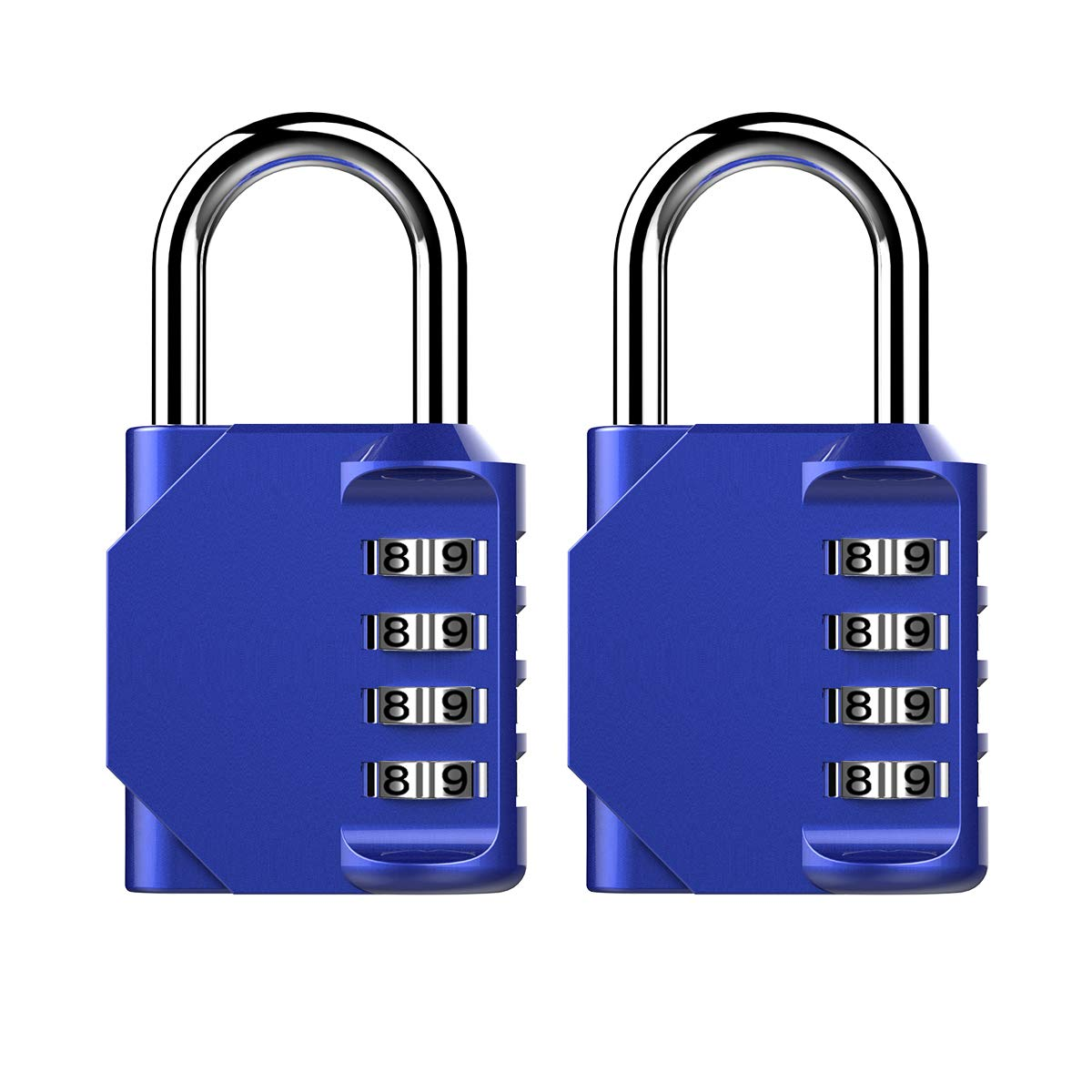 Puroma 2 Pack Combination Lock 4 Digit Padlock for School Gym Locker,Sports Locker,Fence,Toolbox,Case,Hasp Storage (Blue)