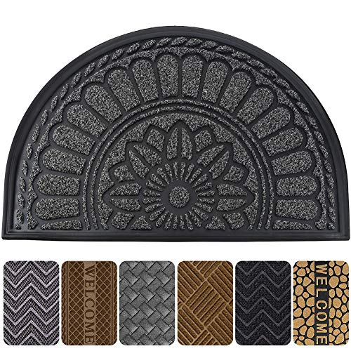 (Mibao Half Round Door Mat, Non-Slip Welcome Entrance Way Rug, Super Durable Low-Profile Easy to Clean Front Outdoor Heavy Duty Doormat for High Traffic Area, 24