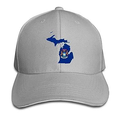 Presock Gorra De Béisbol,Gorro/Gorra Unisex Flag Map Michigan ...