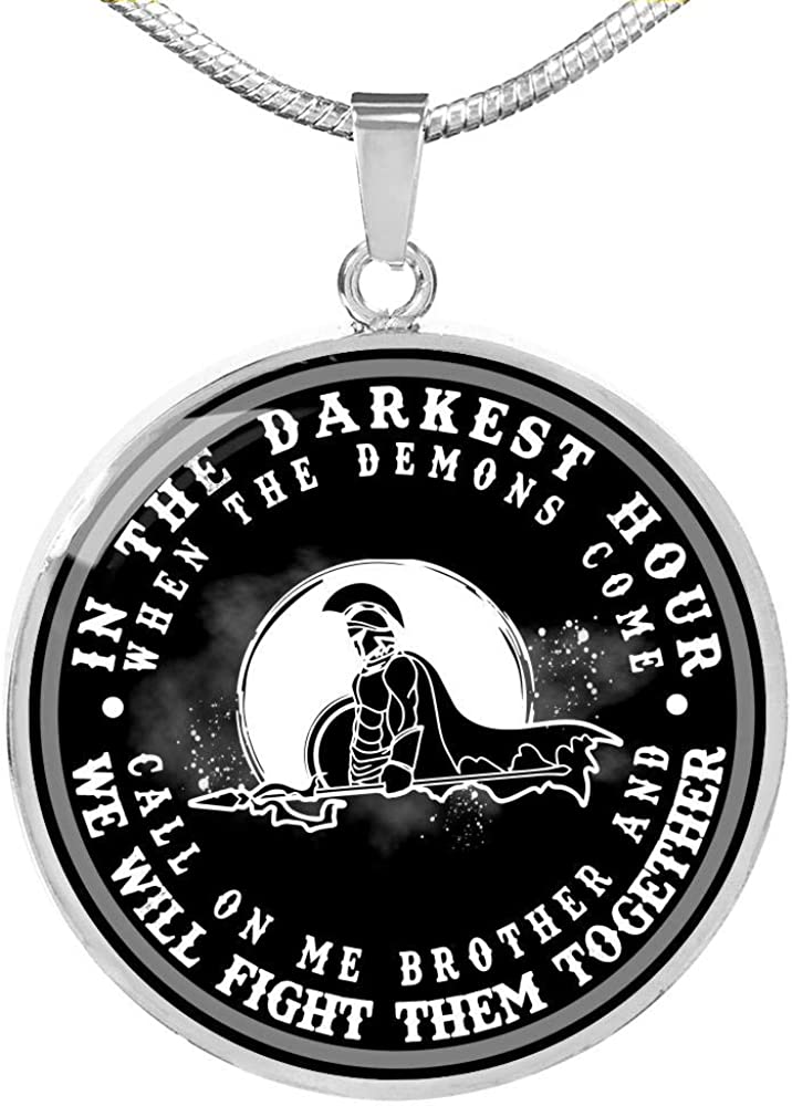 somegifts Spartan Necklace Call on me Brother and we Will Fight Them Together