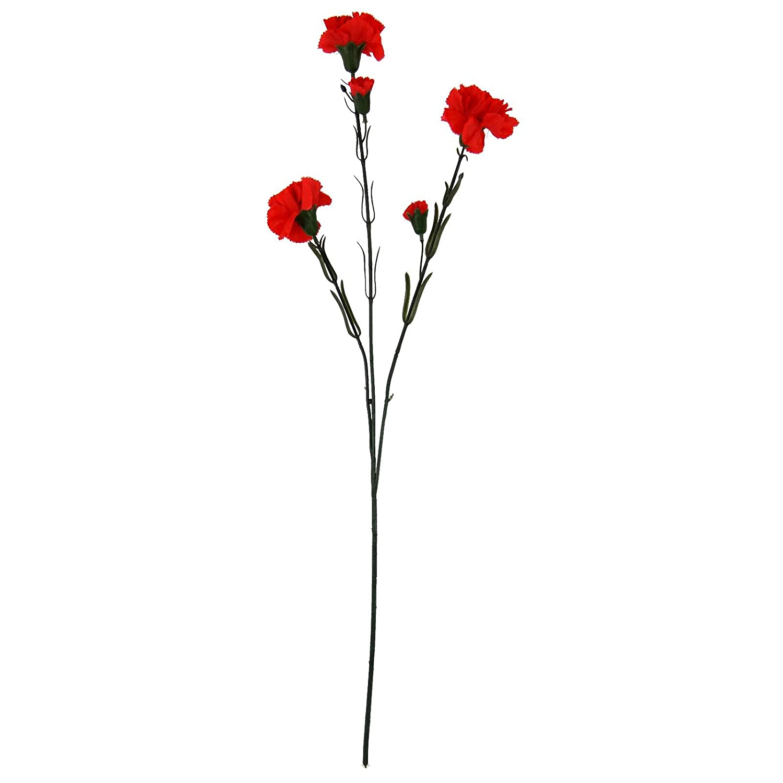 Large 3 Head Carnation Spray - Artificial Silk Flowers Long Stem [Red] Meena Supplies