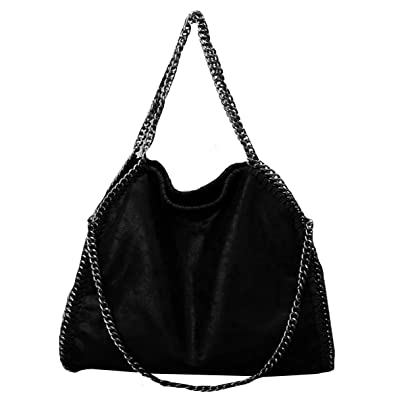 6ce05c4f89b Women Oversize Soft PU Leather Shoulder Bag Chain Strap Clutch Handbag  Foldable Tote Bag(Black)  Handbags  Amazon.com